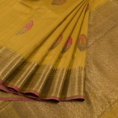 Handwoven Mustard Yellow Banarasi Kadhwa Tussar Silk Saree With Embroidered Makkai Motifs 10013368 - AVISHYA.COM