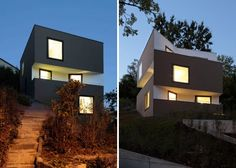 "Residential Architecture: House in Uerikon by Jaeger Zaeh Architekten: ""..set into the hillside like a boulder, the geometric exterior of this dwelling is interrupted by staggering volumes in the facade, creating balconies and terraces with views to the water through the trees. subtle color and texture variations accentuate the facades projections..""  Views, natural light, terraces, sharp interior geometry.."