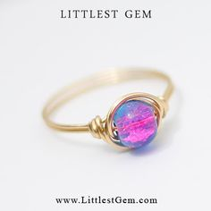 Pink and Blue Ring unique rings wire wrapped by littlestgem, clothes, clothing, girl, girls, women, lady, outfit, accessories, jewelry, fashion, bling, gold, clear crystal, bling ring, hipster ring, boho ring, indie ring, hipster jewelry, jewellery, modern jewelry, minimalist, wedding, prom, party, club