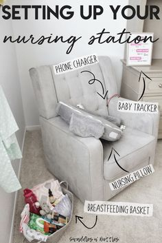 baby must haves Setting up your nursing stations, everything the breastfeeding mama needs within arms reach to make feeding your baby stress free. Baby Must Haves, Baby Room Boy, Baby Bedroom, Bebe Love, Nursing Pillow, Best Nursing Chair, After Baby, Pregnant Mom, 36 Weeks Pregnant
