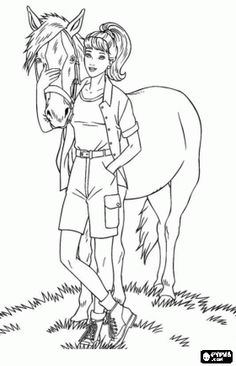 Image Detail For Barbie With A Beautiful Horse In Summer Coloring Page