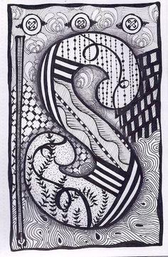 Zentangle, Letter S, Zebra Letters, name, bunting, alphabet: