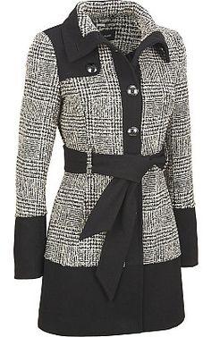 Black Rivet Wool Colorblock Banded-Bottom Coat