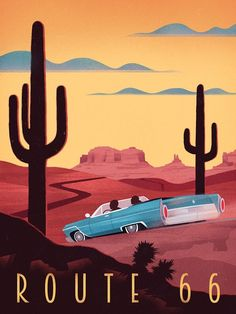 Retro Poster – Route 66 – Vintage Travel – Illustrations And Posters Surf Vintage, Photo Vintage, Retro Vintage, Vintage Glamour, Vintage Tea, Retro Kunst, Retro Art, Art Deco Posters, Poster Prints