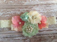 Mint pink ivory headband- easter headband-flower girl headband- newborn-infant -girl- adult-vintage inspired headband- photo prop