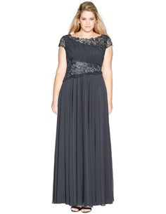 Viviana Asymmetric lace and chiffon evening gown in Anthracite