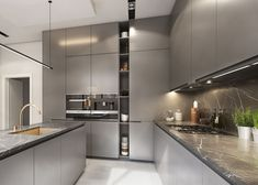 Super contemporary kitchen, with slate grey cabinets. If you& into minimal. Super contemporary kitchen, with slate grey cabinets. If you& into minimalism, this design is for you! Kitchen Room Design, Luxury Kitchen Design, Kitchen Cabinet Design, Luxury Kitchens, Home Decor Kitchen, Kitchen Living, Modern Interior Design, Interior Design Kitchen, Kitchen Furniture