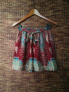 Red High waisted Shorts Paisley Boho print by TribalSpiritShop