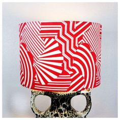 Handmade  Vintage Psychedelic Fabric 30cm Lampshade, Retro Red & White