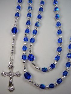 "Women's Rosary Catholic Sapphire Blue 6mm AB and 8mm Sapphire Czech Glass 22 1/2"" Necklace  Las Mujeres Collar Rosario Free Shipping USA by TheGemBeadLink on Etsy"