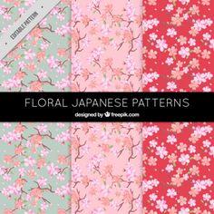 Patrones florales bonitos en estilo japonés Vector Gratis
