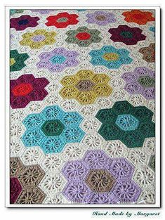 GFG crochet hexagon blanket.