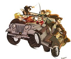Too Many Teens in a Jeep (and Derek). Stiles is going to have to re-detail his car, it has werewolf scratches on the roof and Erica is purposely chipping his paint job as they drive away from what is probably an explosion Isaac and Scott caused. artist - Guzusuru.deviantart.com