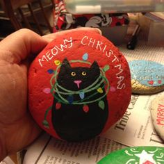 Meowy Christmas painted rock