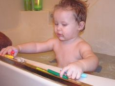 Recipe for home made bath crayons that don't stain the tub or your child.