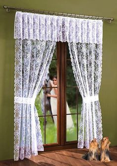 Net Lace Curtain Window Door set White with Pelmet Valance and Tiebacks Curtain Pelmet, Net Curtains, Window Curtains, Interior Paint, Interior Decorating, White Lace Curtains, Rideaux Design, Lace Window, House Cleaning Checklist
