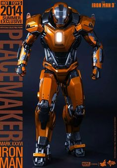 Iron Man scale Peacemaker(Mark XXXVI) Collectible Figure by Hot Toys. (via Iron Man scale Peacemaker(Mark XXXVI) Collectible Figure) Iron Man Avengers, Marvel Comics, Marvel Heroes, Marvel Avengers, Iron Man Kunst, Iron Man Art, Iron Men, Iron Man Wallpaper, Hot Toys Iron Man