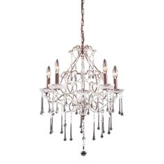 Opulence 5 Light Chandelier In Rust And Clear Crystal