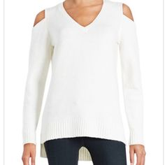 """MICHAEL KORS Cold-Shoulder Sweater sz M white-ish Brand new with tags! Size medium, lower hem in the Back then front. Super soft. Cut out shoulders make an ordinary sweater feel scandalous! Trendy knit sweater with cold-shoulder sleeves V-neck Cold-shoulder sleeves Ribbed cuffs and hem About 29"""" from shoulder to hem Polyester/nylon/acrylic Dry clean Imported Michael Kors Sweaters V-Necks"""