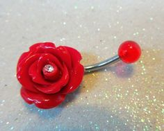 Belly button ring, belly piercing ring with red rose and crystal 14ga | YOUniqueDZigns - Jewelry on ArtFire