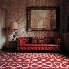 #vintage #chesterfield #sofa #rug #frame #red #decor