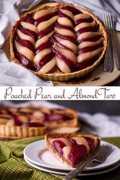 This elegant Pear Tart filled with Frangipane (almond cream) and Red and White Wine Poached Pears tastes just as impressive as it looks. Pastry Recipes, Tart Recipes, Fruit Recipes, Baking Recipes, Sweet Recipes, Dessert Recipes, Baking Ideas, Brunch Recipes, Pear And Almond Tart