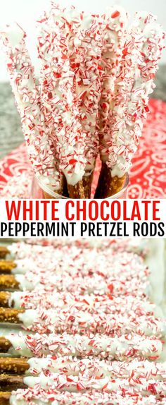 White Chocolate Peppermint Pretzel Rods A Quick Easy Fun Holiday Gift peppermint. - White Chocolate Peppermint Pretzel Rods A Quick Easy Fun Holiday Gift peppermint/christmas/pretzels - Christmas Pretzels, Easy Christmas Treats, Christmas Sweets, Holiday Treats, Christmas Recipes, Christmas Cookies, Holiday Recipes, Christmas Christmas, Holiday Gifts