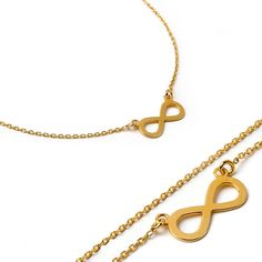 Sterling silver gold plated infinity necklace. Small infinity silver necklace…