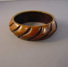 BAKELITE green and brown resin washed bangle