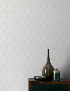 Papier peint RETROSILVER, 100% intissé graphique, gris nuage | Saint Maclou
