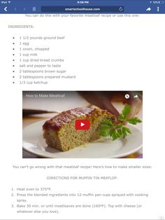 Favorite Meatloaf Recipe, 1 Egg, Meatloaf Recipes, Bread Crumbs, Baked Potato, Onion, Mustard, Beef, Canning