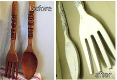 Fork and spoon refinished in distressed white.