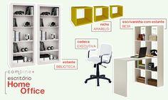 Conjunto Home Office com Estantes, Escrivaninha, Cadeira e Nichos Branco/Amarelo - Combine +