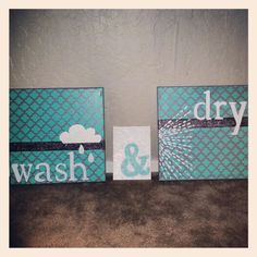 Yep, I made these! Quick & Easy DIY laundry room paintings...canvas, acrylic paint, letter stickers/stencils and stencils