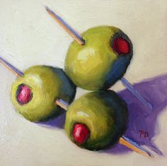 """Three Cocktail Olives by Pat Doherty Oil ~ 5"""" x 5"""""""