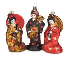 Trio of Blown-Glass Japanese Ladies in Kimonos Ornament, Dollmasters Japanese Ornaments, Christmas Tree, Christmas Ornaments, Christmas Ideas, Mercury Glass, Happy Holidays, Blown Glass, Asian, Holiday Decor