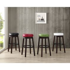 Set of 2 Swivel Leather Circle Bar Stools