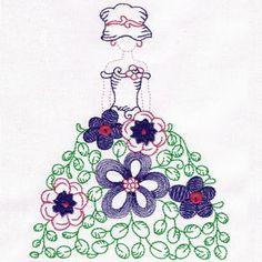 Sunbonnet Embroidery Design  - Floral Lady 1