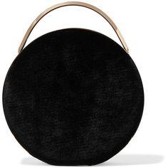 Eddie Borgo Chet Minaudiere leather-trimmed velvet shoulder bag (35,620 MXN) ❤ liked on Polyvore featuring bags, handbags, shoulder bags, clasp handbag, velvet shoulder bag, velvet purse, chain strap purse and shoulder handbags