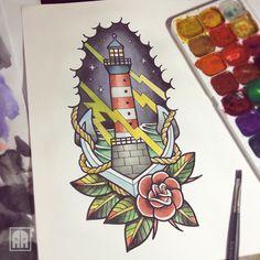 #lighthouse #beacon #style #sevastopol #ageevtattoo #traditionaltattoo #flash #neotradtattoo #tattooinukraine