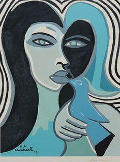 Figura com Pássaro : Emiliano Di Cavalcanti