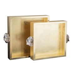 The Couture Astoria tray set adorns desktops and coffee tables with natural modernity. Lacquered gold leaf creates a lustrous sheen along these simple square accents, embellished by smoky quartz clusters in place of handles. Small: W x D x H. Casa Atrium, Square Tray, Beveled Mirror, Mid Century Modern Design, Smokey Quartz, Tray Decor, Gold Paint, Home Interior, Plexus Products
