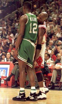 Michael Jordan pulling Dominique Wilkins' shorts down