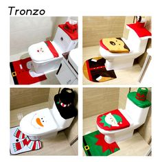 Santa Claus Toilet Seat Cover And Rug Bathroom Set //Price: $14.14 & FREE Shipping //     }
