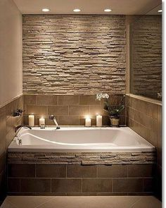 Home Decorating Ideas Bathroom Bathroom stone wall and tile around the tub is creative inspiration for us. - Home Decorating Ideas Bathroom Bathroom stone wall and tile around the tub is creative inspiration for us. Dream Bathrooms, Beautiful Bathrooms, Small Bathrooms, Small Bathtub, Tile Around Bathtub, Corner Bathtub, Sweet Home, Bathroom Renos, Bathroom Ideas