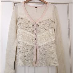 ✨SALE ✨ Free People lacy sweater Purchased this item that was previously owned on eBay and I never wore it. Size medium. Free People sweater. Ivory with white lace and pale pink trim. Free People Sweaters Cardigans