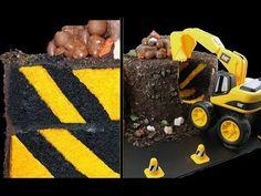 DIGGER CAKE! Diagonal Stripe Surprise Inside Construction Cake Tutorial by Cupcake Addiction - YouTube