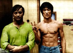 Bruce lee & Dan inosantos. Dan was a jeet kune do student of bruce. Dan also had a part in the film with lee in game of death.