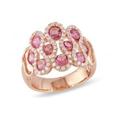 2ct TGW Pink Tourmaline & CZ Fashion Ring Silver Pink Rhodium Plated - Rings