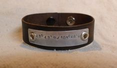 Men's Leather Bracelet Longitude Latitude by DakotaDesignsJewelry, $36.00